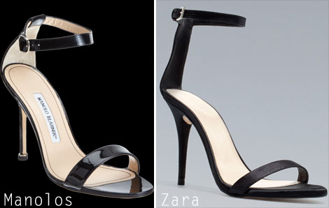 Manolo Blahnik sandals vs Zara sandals