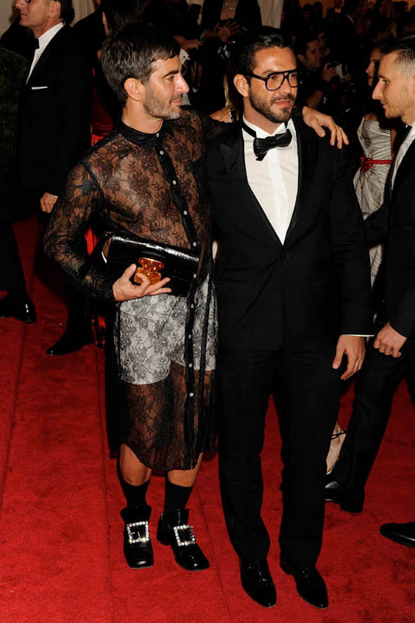 Marc Jacobs In Comme Des Garcons Black See Trough Lace Met Gala 2012