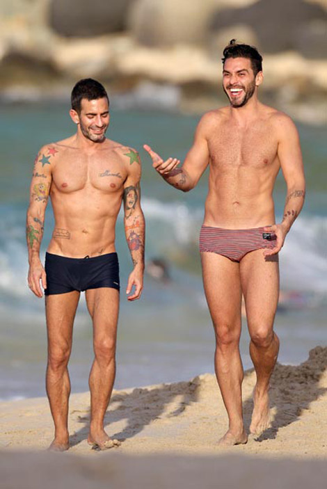 Marc Jacobs at the beach with Lorenzo Martone