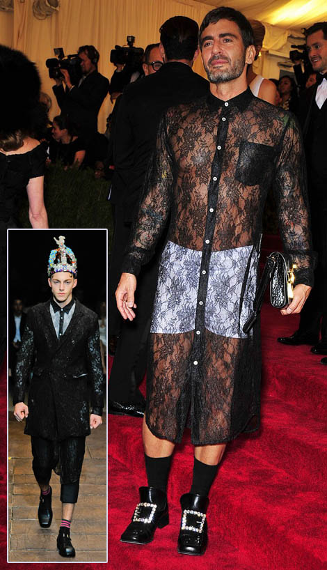 Marc Jacobs see through black lace Comme des Garcons Met Gala 2012
