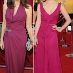Mary Steenburger Dianna Agron crimson dresses 2012 SAG Awards red carpet