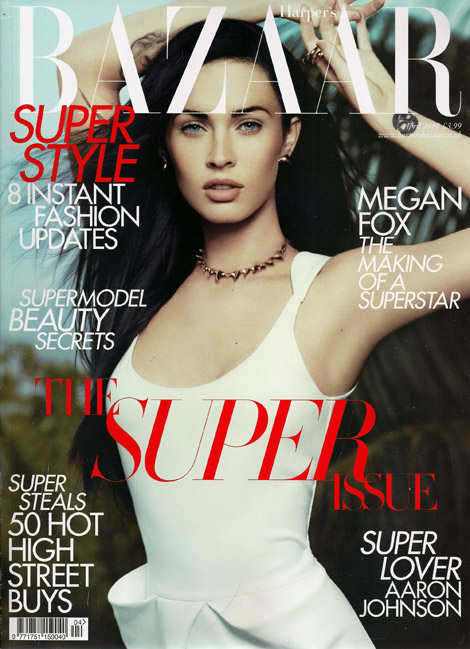 Covering the UK edition of Harper's Bazaar, the April 2010 issue, Megan Fox