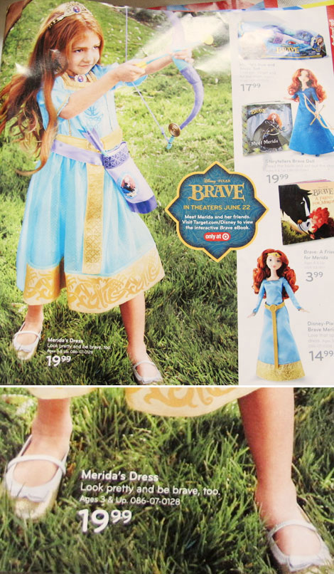 Merida s dress for sale at Target ad message