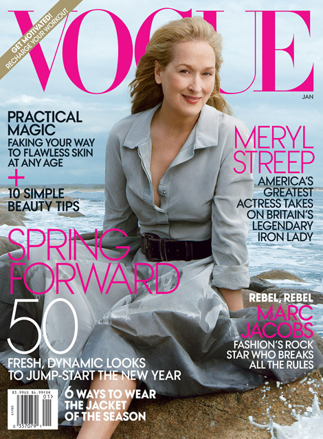 Meryl Streep Vogue January 2012 cover photographed by Annie Leibovitz