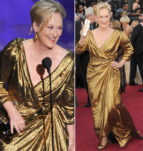 Meryl Streep won an Oscar in Lanvin Golden Dress at 2012 Oscars