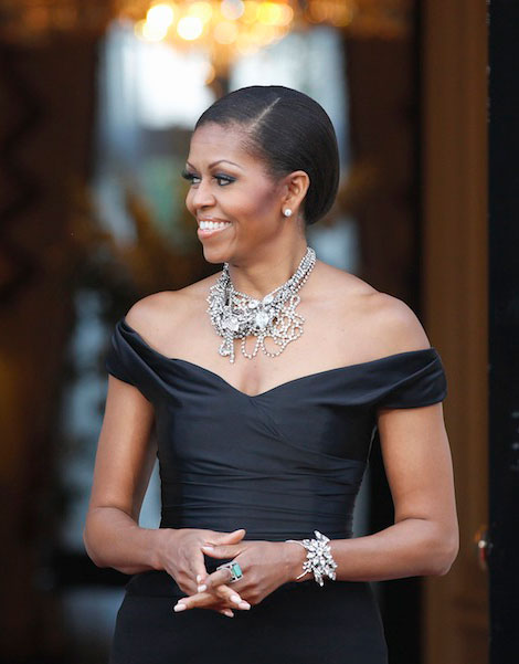 Michelle Obama wears black Ralph Lauren dress in UK