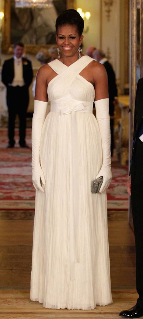 Michelle Obama wears white Tom Ford dress in UK
