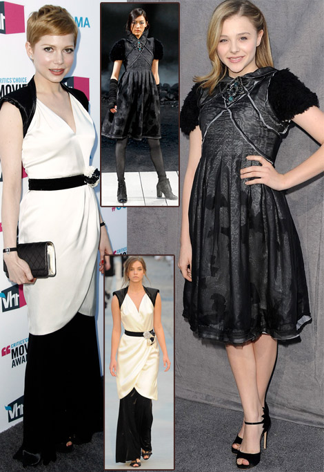 Michelle Williams Chloe Moretz Chanel Dresses 2012 Critics Choice Awards