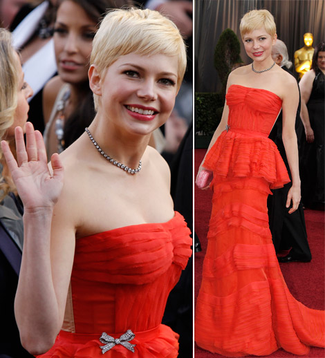 Michelle Williams In Louis Vuitton Red Dress For 2012 Oscars