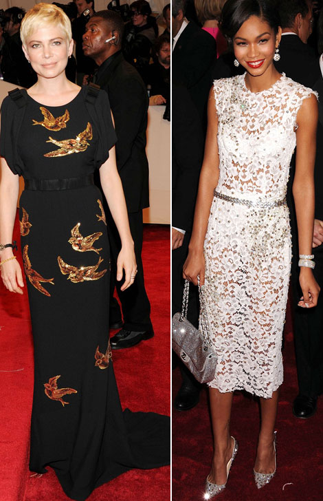 Michelle Williams Miu Miu black dress Chanel Iman lace D G dress Met Gala 2011