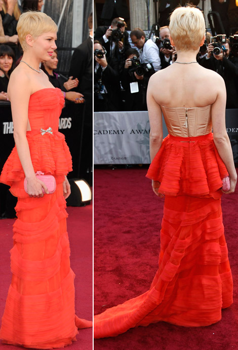 Michelle Williams in red dress 2012 Oscars Red Carpet
