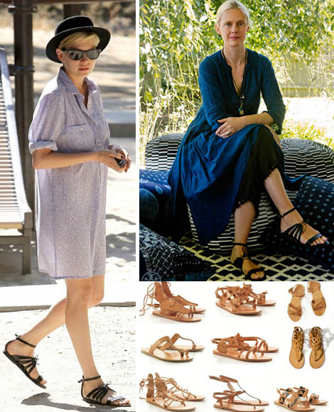 Michelle Williams sandals greek sandals by Tiina Laakkonen