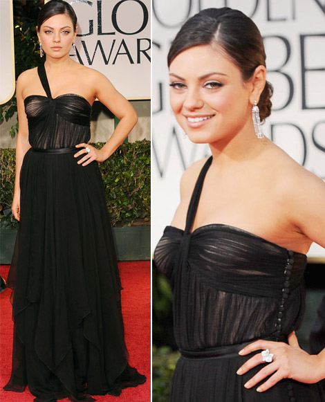 Mila Kunis black Dior dress 2012 Golden Globes