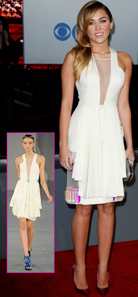 Miley Cyrus In David Koma White Dress For 2012 People's Choice ...