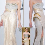 Milla Jovovich Atelier Versace metallic dress amfAR Cannes 2012