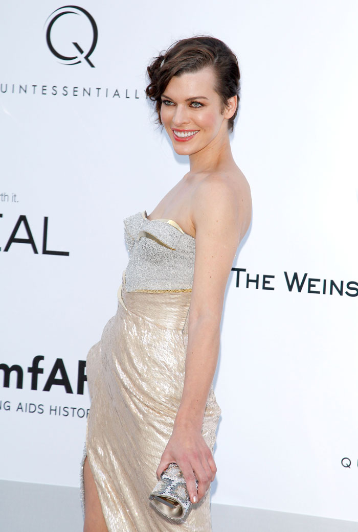 Milla Jovovich on the Cannes Red Carpet amfAR