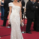 Milla Jovovich white dress 2012 Oscars Red Carpet