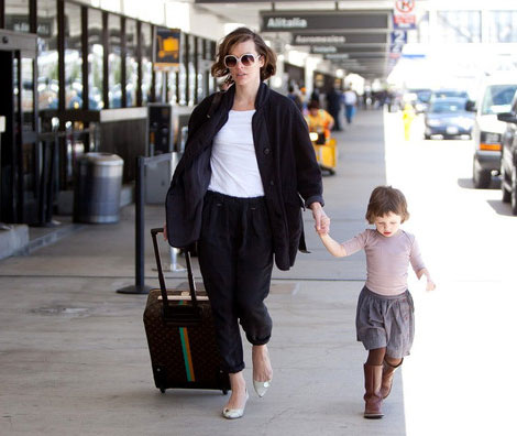 Milla Jovovich Travels With Her Louis Vuitton Suitcase