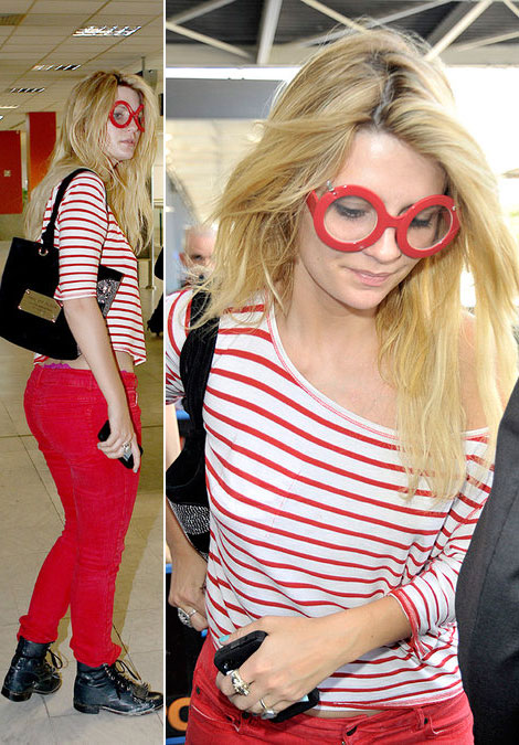 Mischa Barton red striped tee red skinny