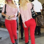 Mischa Barton striped tee Waldo glasses