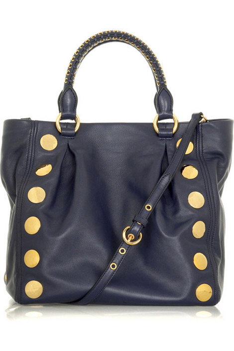 Miu Miu studded black leather tote
