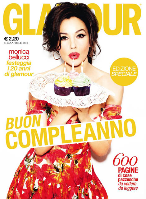 Monica Bellucci photoshopped cupcakes Glamour Italia April 2012 cover