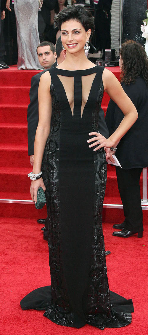 Morena Baccarin black cutout dress 2012 Golden Globes