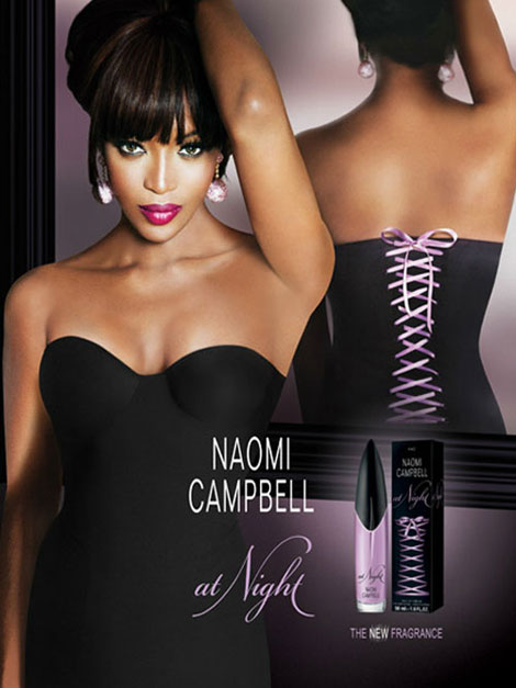Naomi Campbell at Night perfume ad campaign