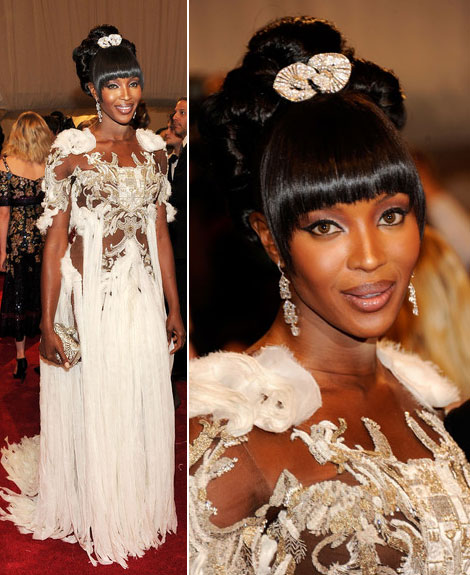 Naomi Campbell white Alexander Mcqueen dress Met Gala 2011