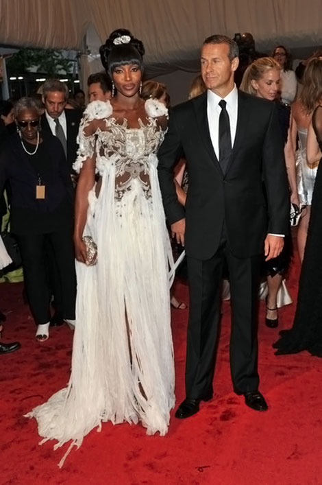 Naomi Campbell white Mcqueen dress Vladimir Doronin Met Gala 2011