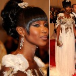 Naomi Campbell white Mcqueen dress Met Gala 2011