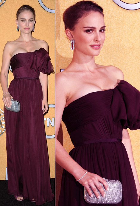 Natalie Portman's Giambattista Valli Deep Plum Dress 2012 SAG Awards