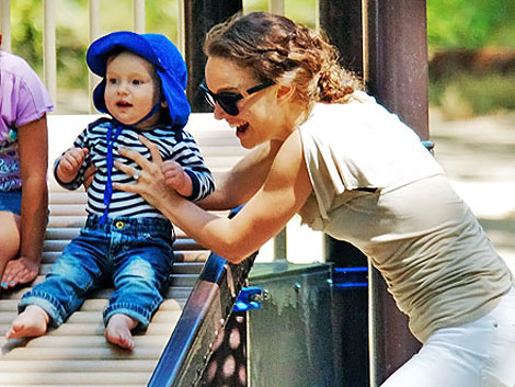 Natalie Portman playing with son Aleph