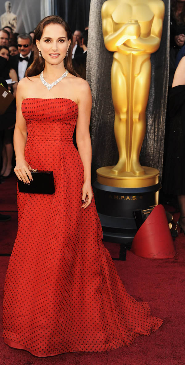 Natalie Portman vintage Dior red dress 2012 Oscars Red Carpet
