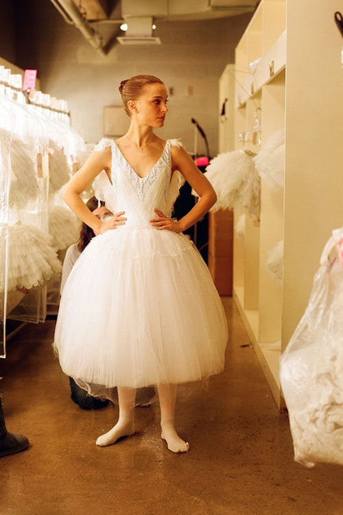 Natalie Portman white Rodarte dress Black Swan backstage