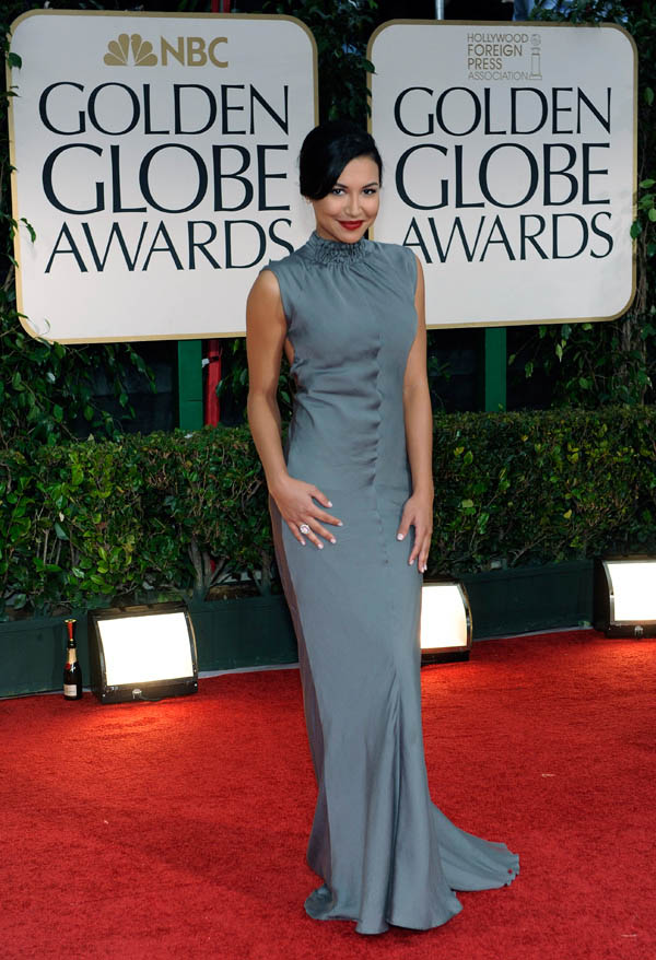 Naya Rivera s gray Vera Wang dress 2012 Golden Globes