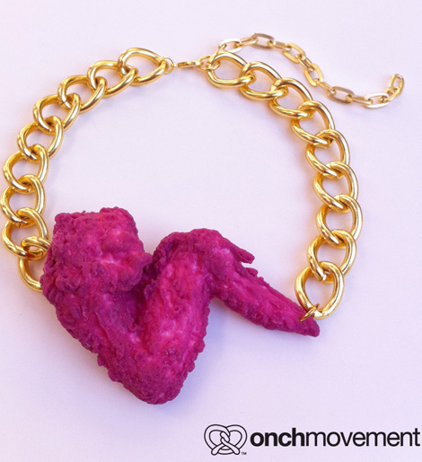 Nicki MInaj pink fried chicken wing necklace on sale