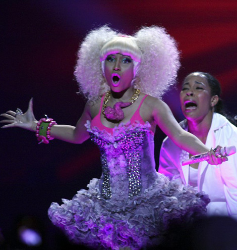 Nicki Minaj performing with chicken wing necklace