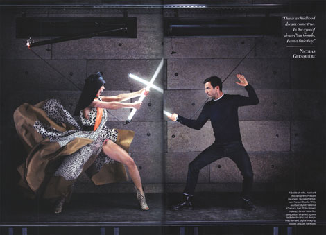 Nicolas Ghesquiere fighting Charlotte Gainsbourg by Jean Paul Goude