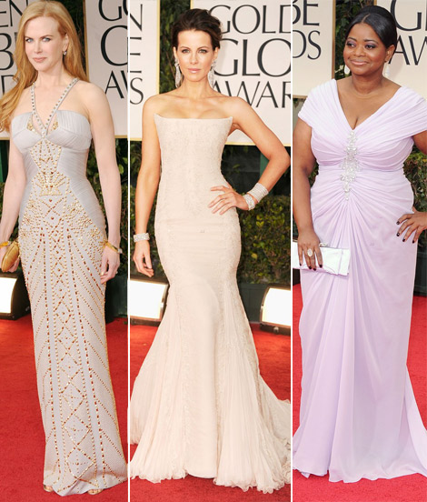 2012 Golden Globe Awards Red Carpet Pale Dresses