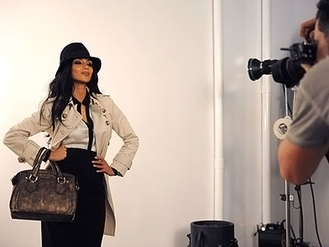 Nicole Scherzinger shooting  for London Fog ad campaign