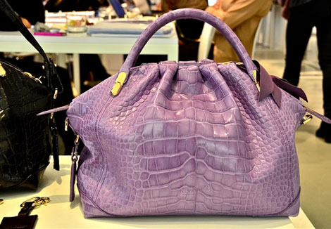 Nina Ricci La Rue bag lilac alligator