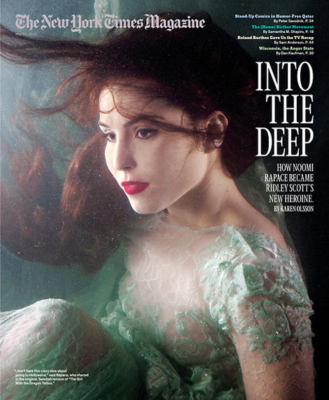 Noomi Rapace New York Times Magazine underwater cover
