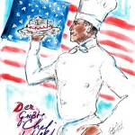 Obama Chef drawing by Karl Lagerfeld