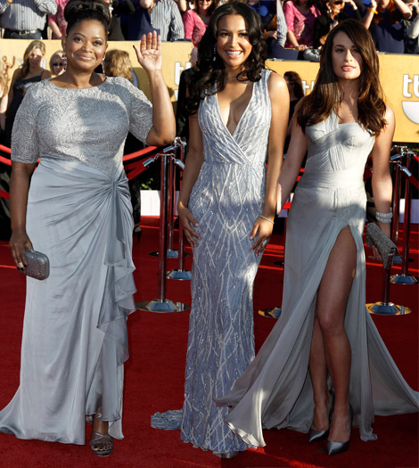 Octavia Spencer Naya Rivera Lea Michele soft gray dresses 2012 SAG