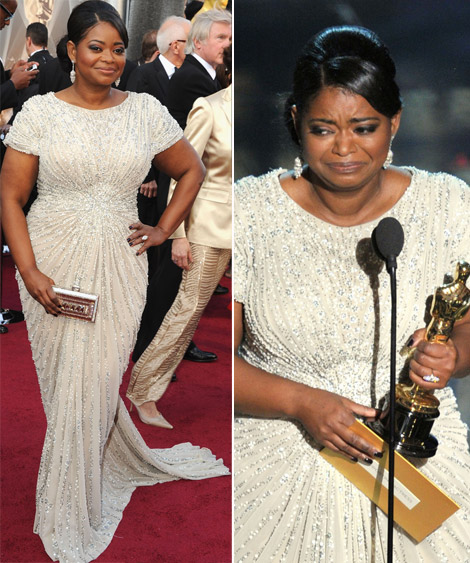 Octavia Spencer In Tadashi Shoji White Dress For 2012 Oscars