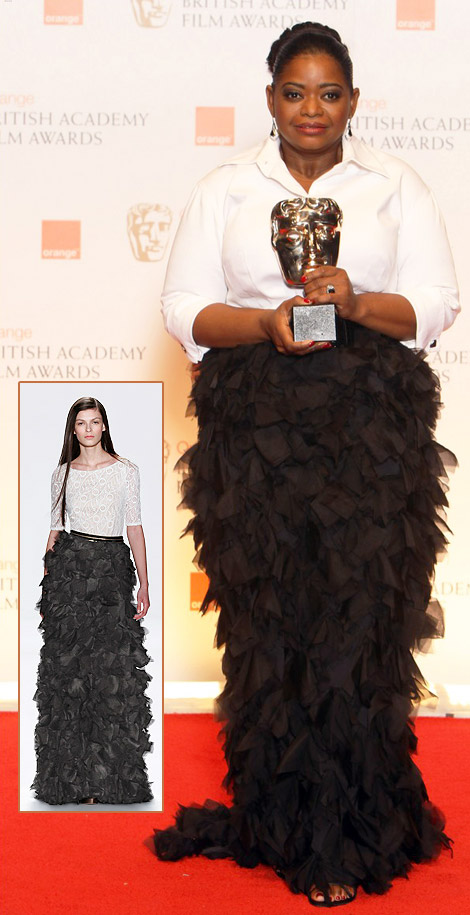 Beautiful Octavia Spencer In Black And White Tadashi Shoji For 2012 BAFTA Awards