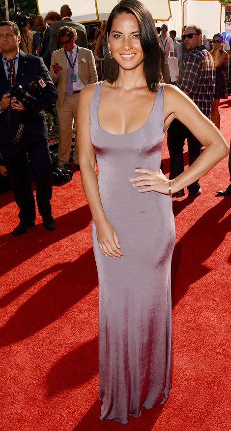Olivia Munn Giorgio Armani gray dress ESPY Awards