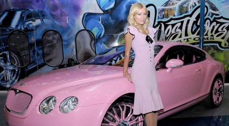 Paris Hilton pink Bentley Continental GT