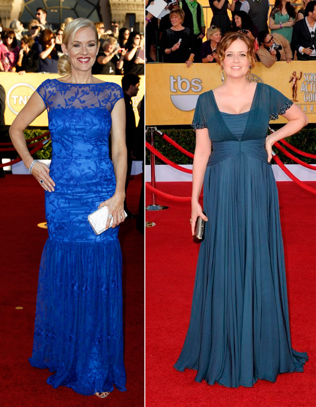 Penelope Ann Miller Jenna Fischer blue dresses 2012 SAG Awards Red Carpet
